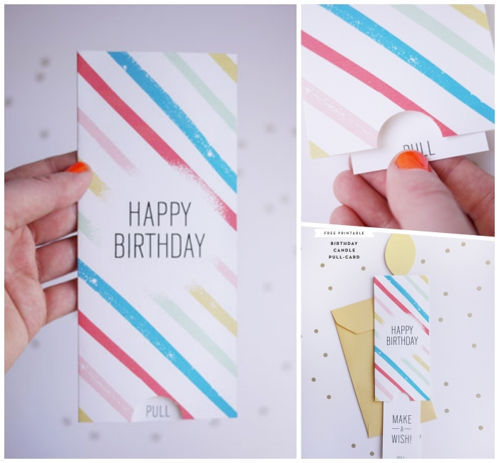 colourful lines, across white card stock, happy birthday pull card, cute birthday cards, yellow envelope