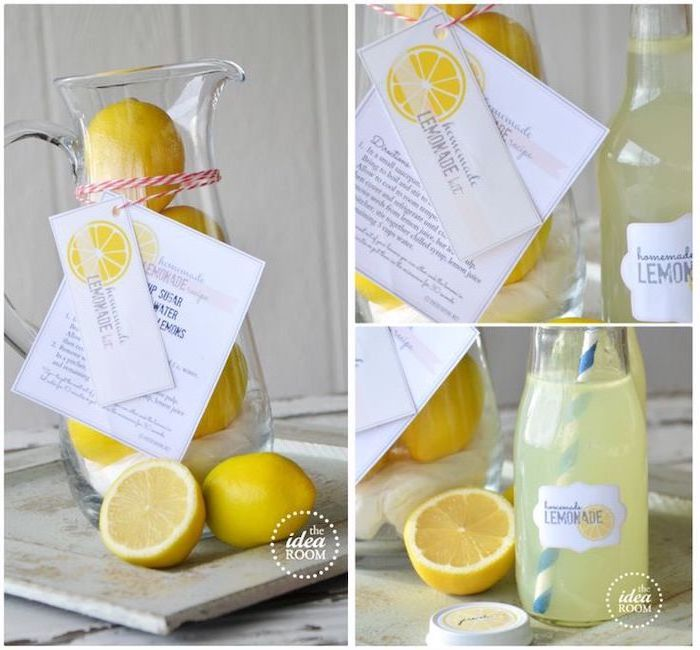 diy homemade lemonade, large water pitcher, lemons inside, lemonade recipe, what is a good housewarming gift