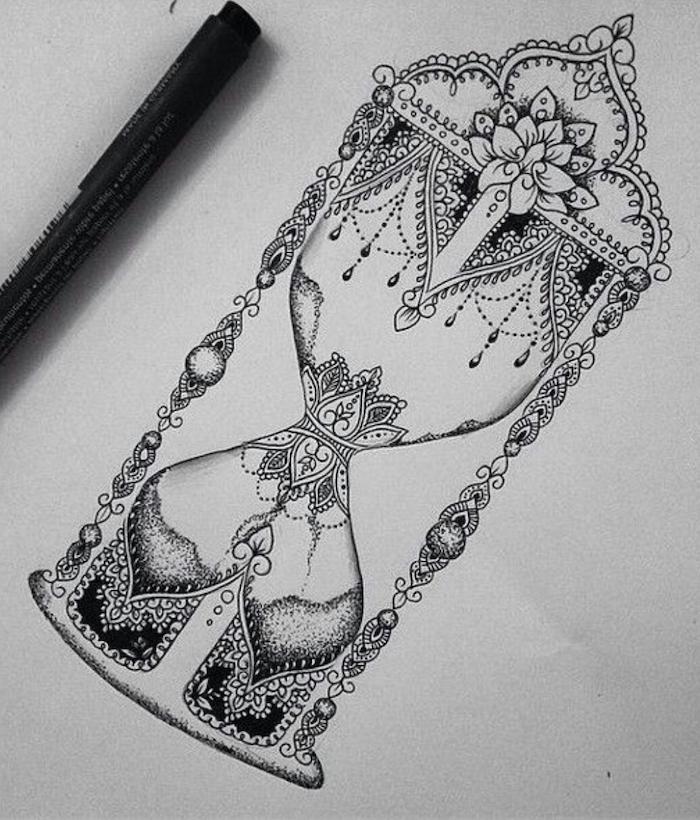 hour glass, mandala tattoo design, white background, black and white sketch