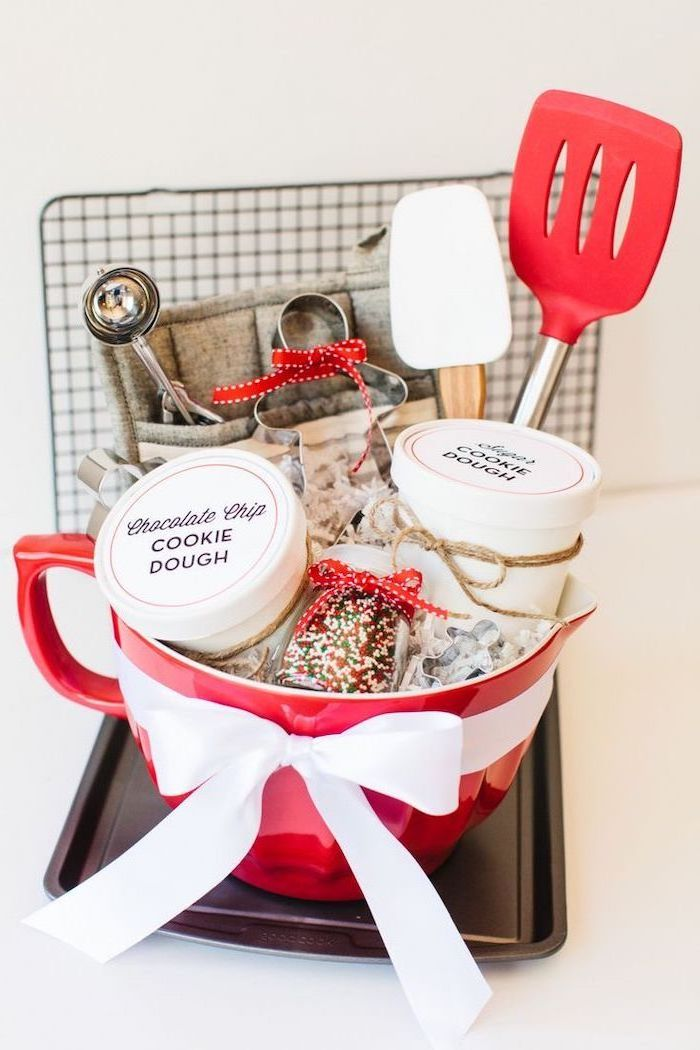 practical housewarming gifts, large red bowl, white and red spatulas, chocolate chip, cookie dough