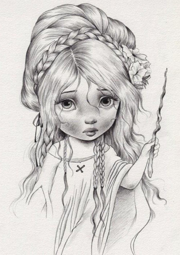 long wavy hair, with braids, how to draw lips, little girl, pencil sketch, in black and white