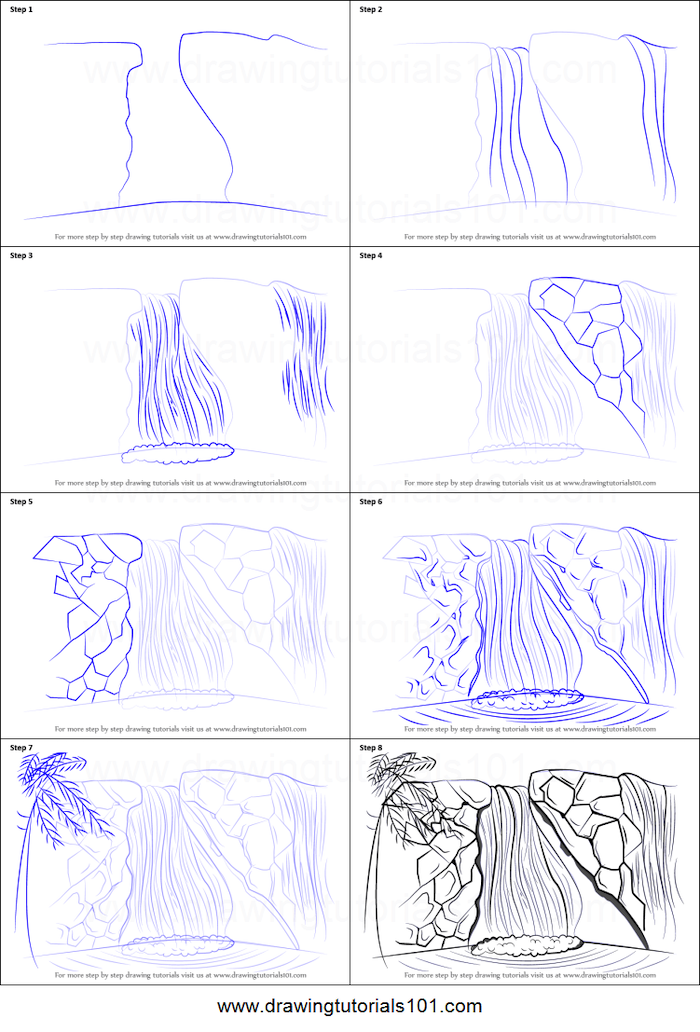 how to draw a waterfall, cute simple drawings, step by step, diy tutorial