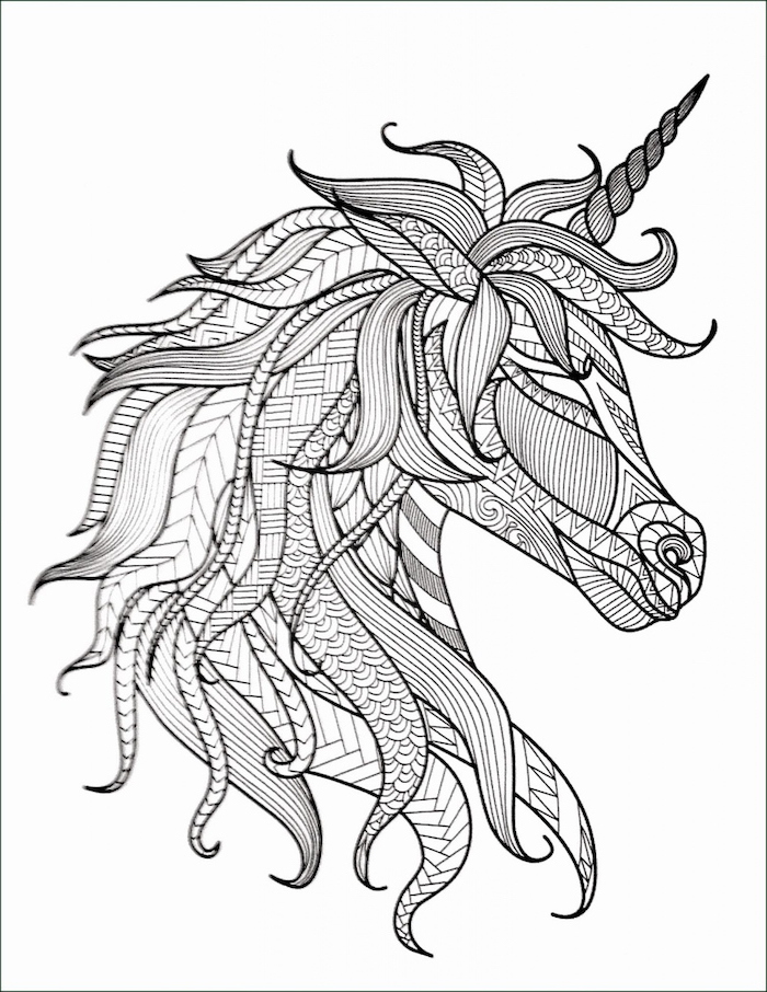 black and white sketch, of a unicorn, with geometrical shapes, easy things to draw for beginners