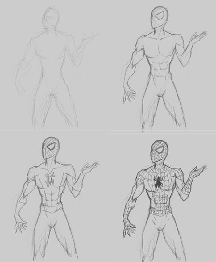 how to draw spiderman, how to draw step by step for beginners, diy tutorial, black and white sketch
