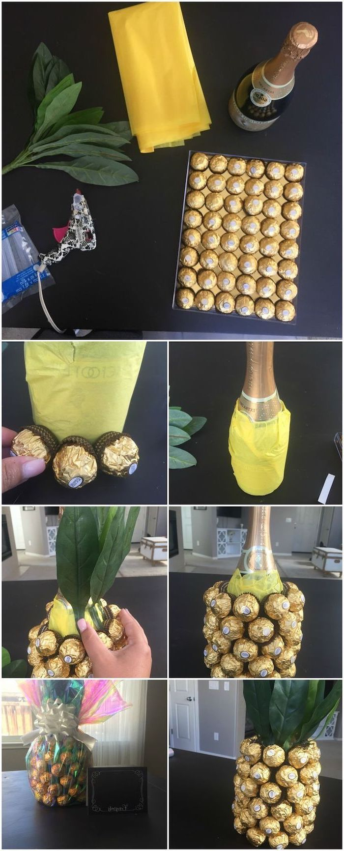 step by step, diy tutorial, unique housewarming gifts, diy pineapple, made of champagne bottle, ferrero rocher chocolates