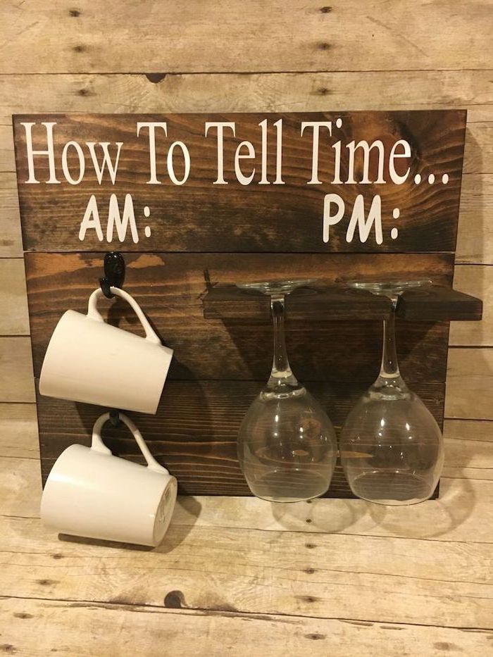 unique housewarming gifts, how to tell time, wooden board, wine glasses, coffee mugs