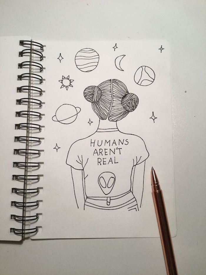 humans aren't real t shirt, girl staring, at the planets and stars, how to draw cool things