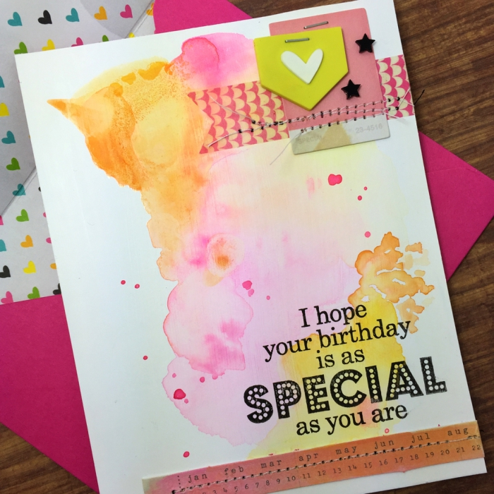 pink envelope, homemade cards, watercolour happy birthday card, pink orange and yellow colours