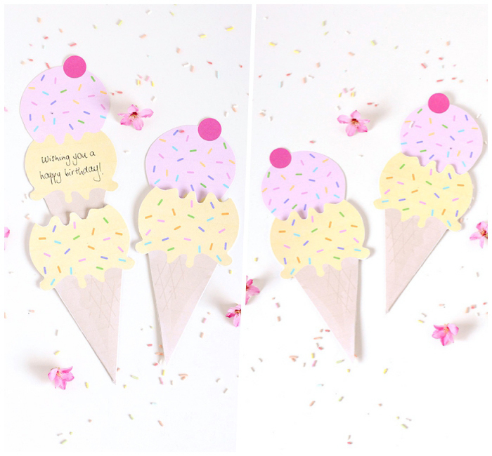 side by side photos, ice cream cone, greeting cards, birthday card ideas, sprinkles and flowers