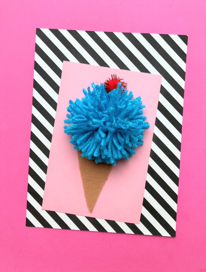 ice cream cone, made with blue yarn, handmade birthday cards, pink card stock, pink background