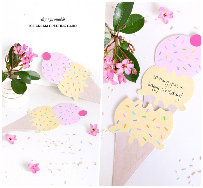 ice cream cone, shaped greeting card, birthday card ideas, pink flower, white background