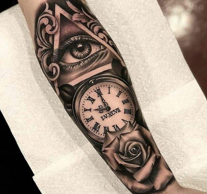 illuminati eye, clock and a rose, forearm tattoo, roman numeral wrist tattoo