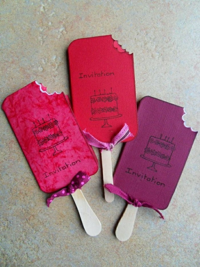 birthday invitations, in the shape of ice cream, wooden sticks, best birthday cards, purple pink and red
