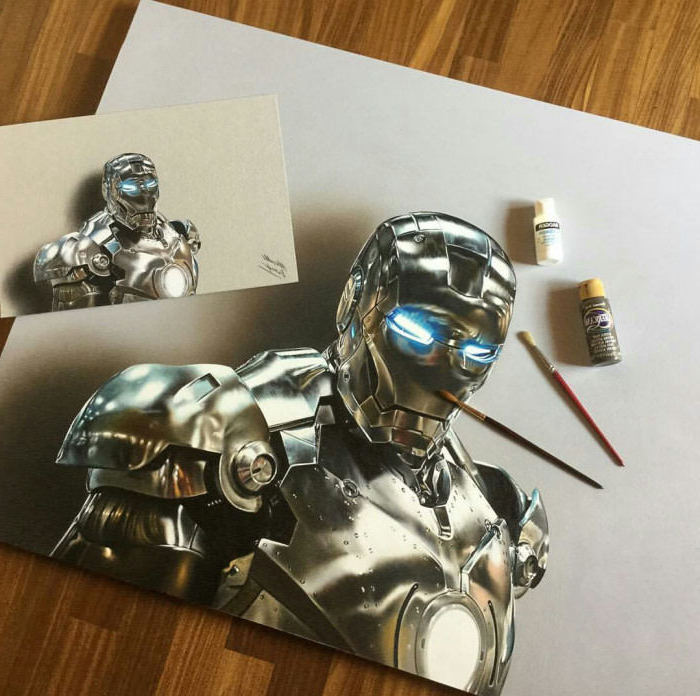 cool things to draw, iron man, 3d art, metal armour, painted with acrylic paint, on white background