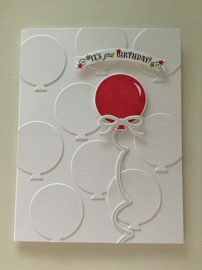 white card stock, red balloon, it's your birthday, greeting card, best birthday cards