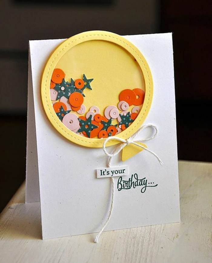 homemade birthday card ideas, yellow ballon, stars and circles inside, it's your birthday, greeting card