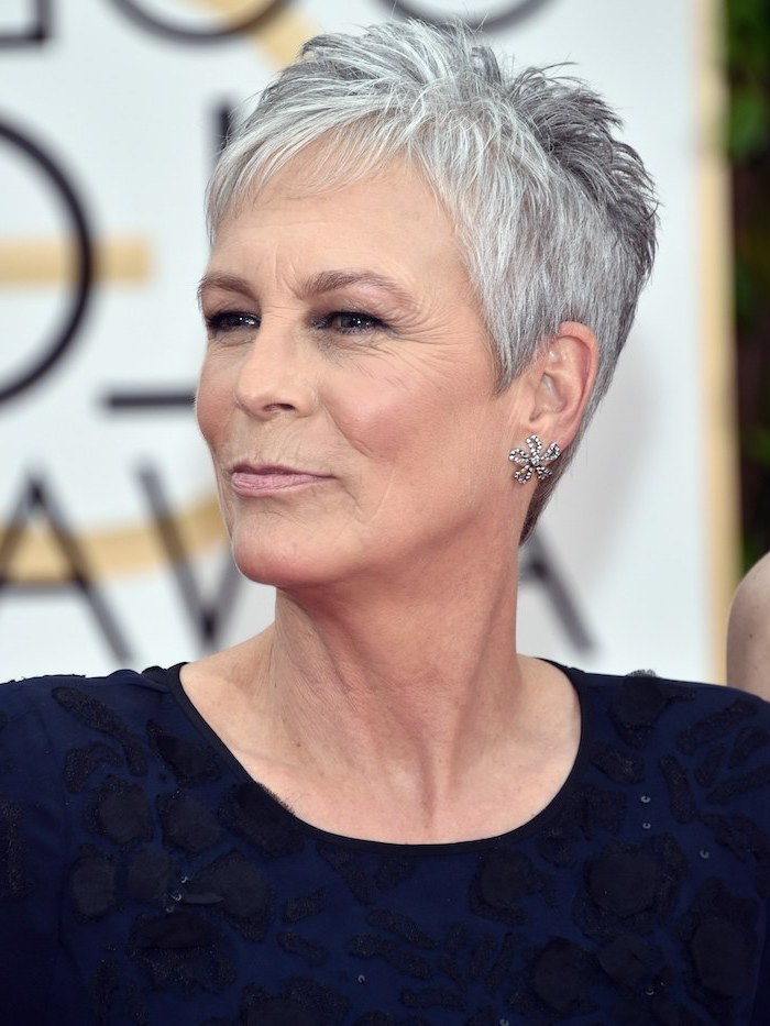 jamie lee curtis, navy blue dress, pictures of short haircuts, grey hair, pixie cut