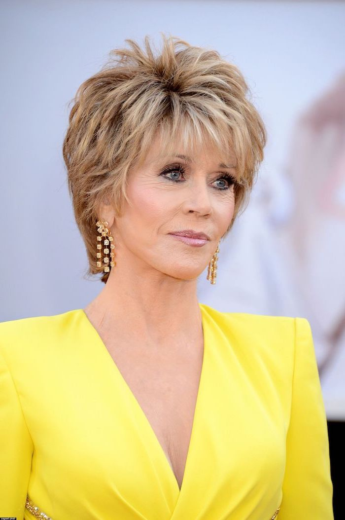 yellow dress, jane fonda, blonde hair, golden earrings, pictures of short haircuts