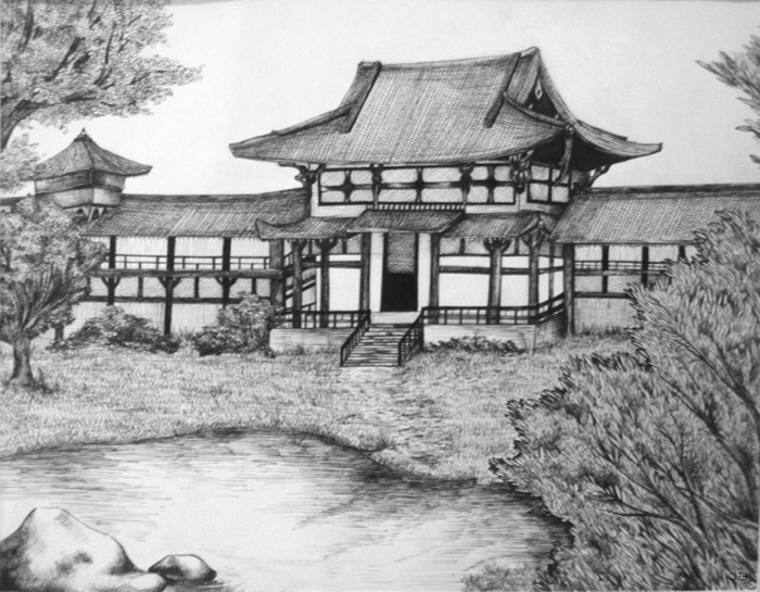 japanese style house, how to draw people, black and white, pencil sketch, trees and a lake