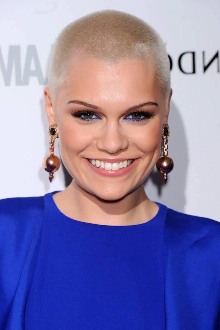 blue dress, short haircuts for women, jessie j, buzz cut, blonde hair, large earrings