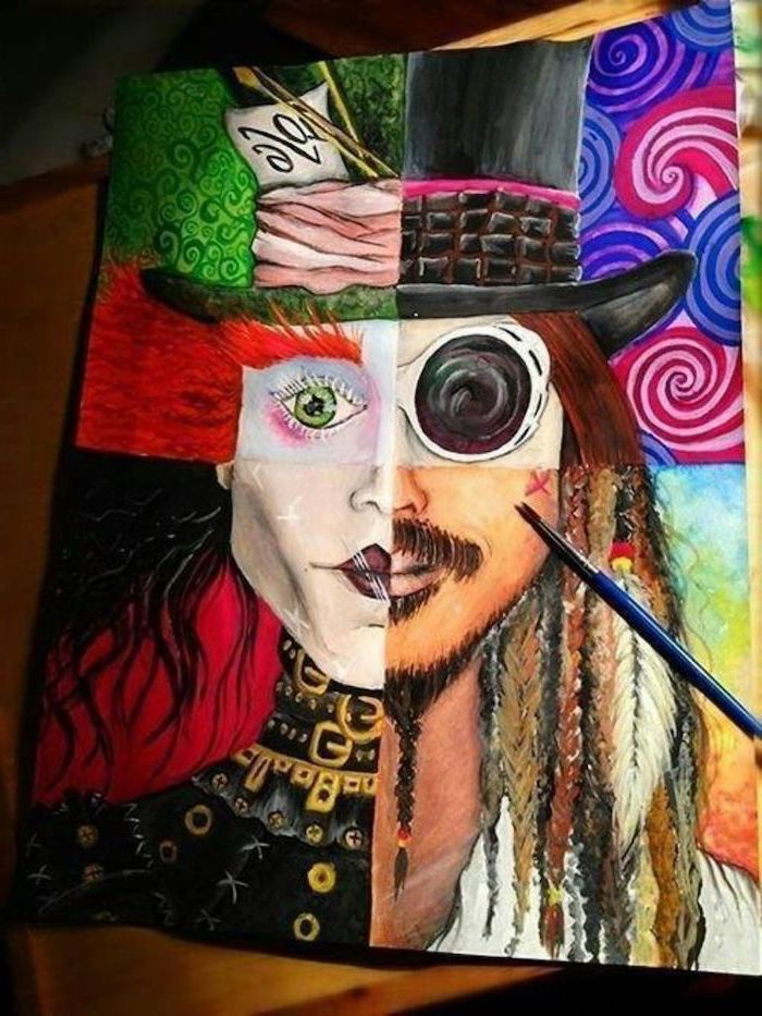 johnny depp characters, colourful painting, how to draw cool stuff, the mad hatter, jack sparrow, edward scissorhands, charlie and the chocolate factory
