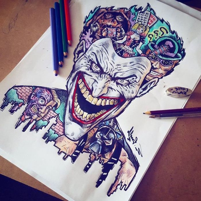 joker laughing, batman villains, inside his head, cool things to draw, colourful drawing, harley quinn