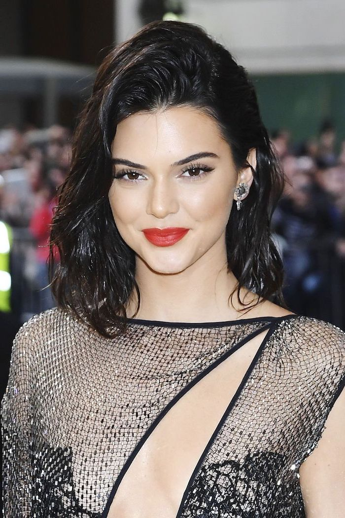kendall jenner, red lipstick, short hairstyles with bangs, black hair, black lace dress