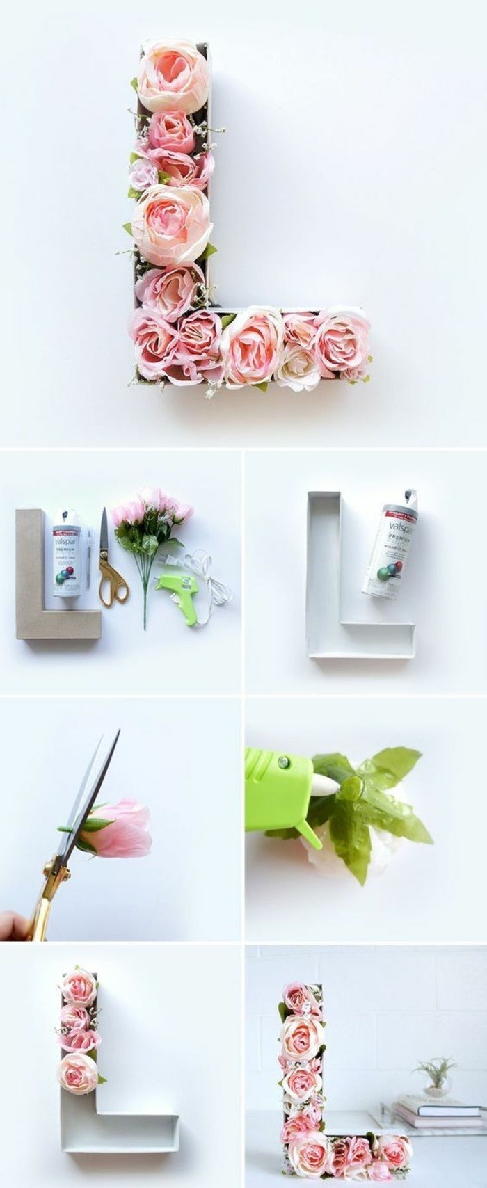 diy tutorial, step by step, the letter l, filled with faux roses, wall art ideas for living room, hanging on a white wall