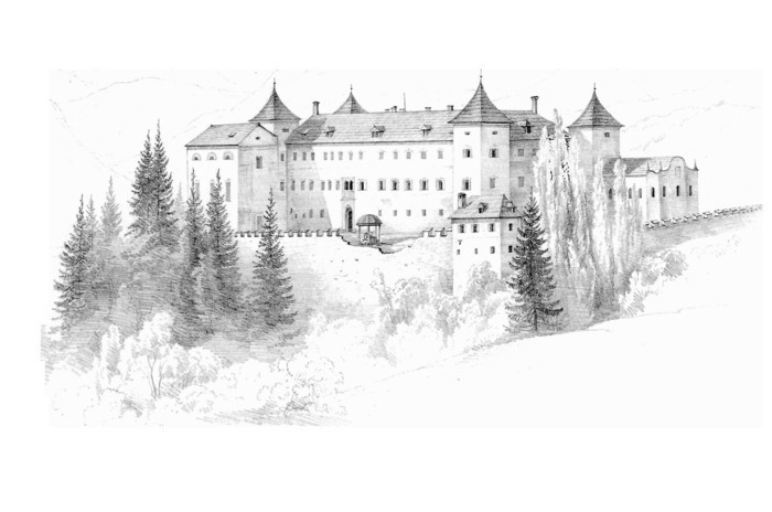 medieval castle, black and white, pencil sketch, how to draw people, trees in front