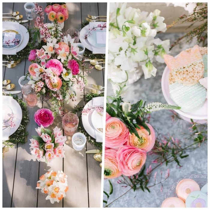 photo collage, kitchen table centerpieces, table settings, flower bouquets, wooden tables