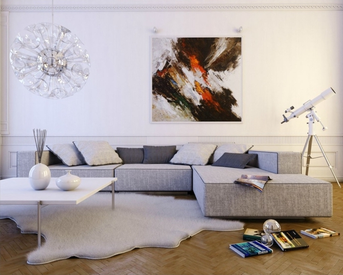 abstract art, white walls, grey corner sofa, gray bedroom walls, wooden floor, white coffee table