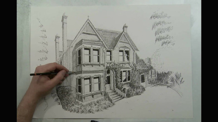 large house, how to draw cool stuff, black and white, pencil sketch, white background