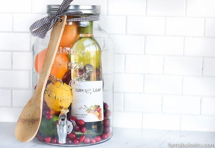 best housewarming gifts, large mason jar, ingredients inside, diy sangria
