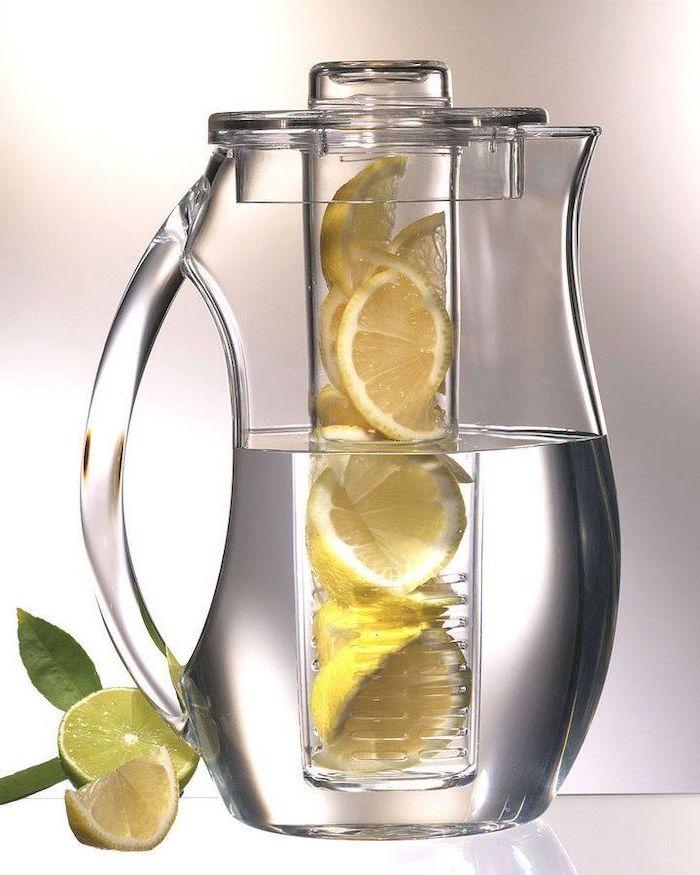 water pitcher, fruit infusing, lemons inside, unique housewarming gifts