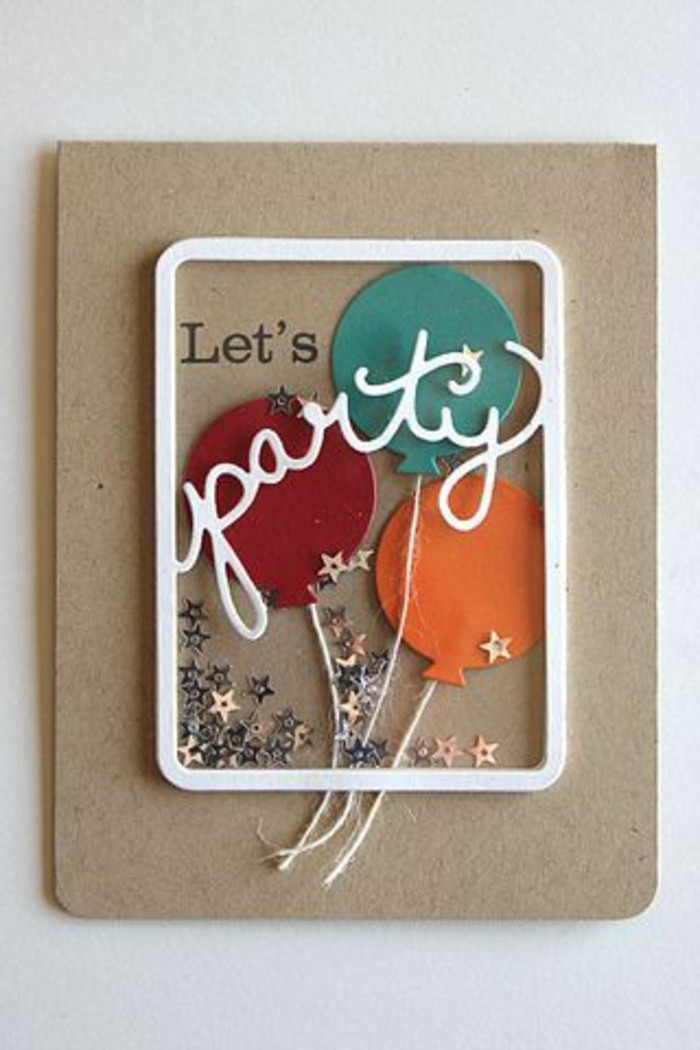let's party, greeting card, homemade birthday card ideas, red blue and orange balloons, silver stars