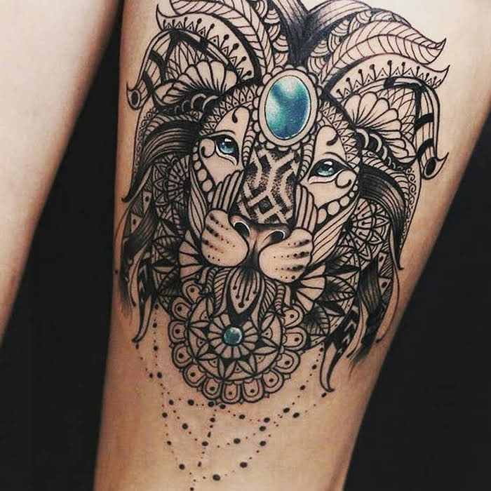 lion thigh tattoo, blue eyes, mandala tattoo meaning, black background