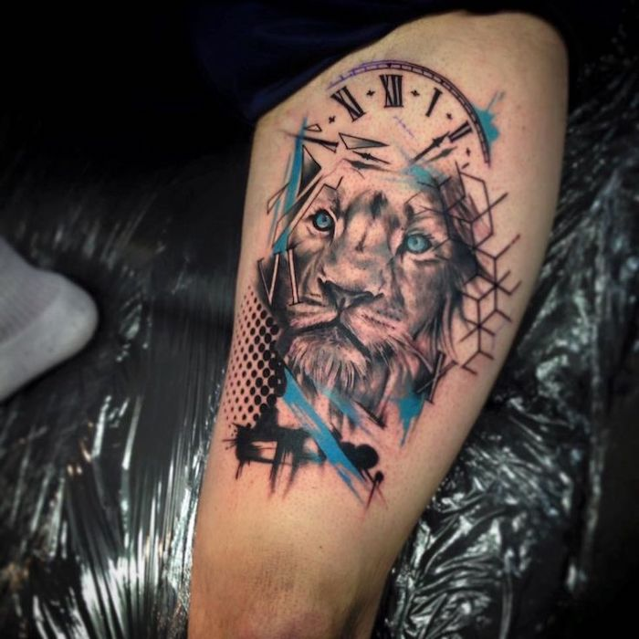 lion head, blue watercolour, clock with roman numerals, thigh tattoo, date in roman numerals
