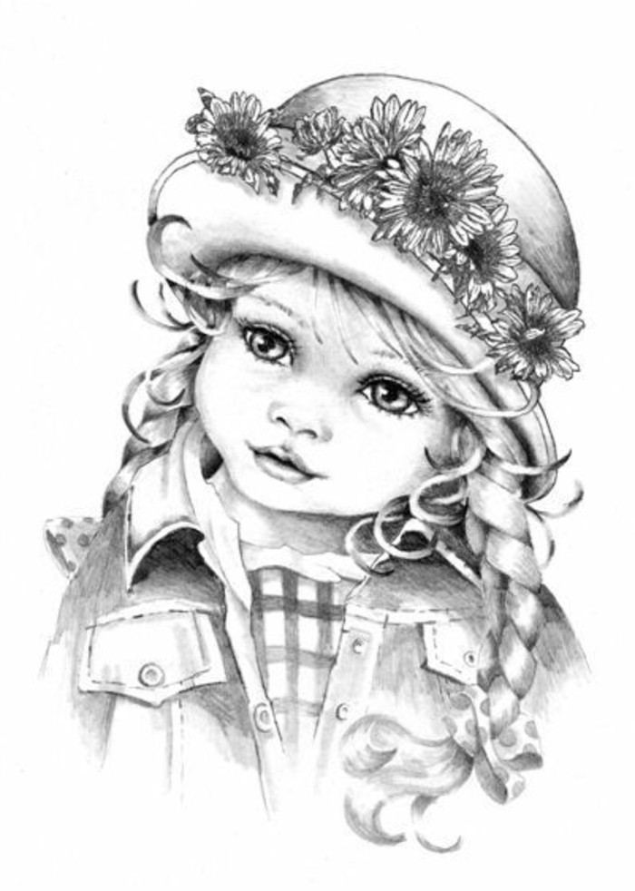 little girl, with sunflower hat, how to draw people, white background, black and white, pencil sketch