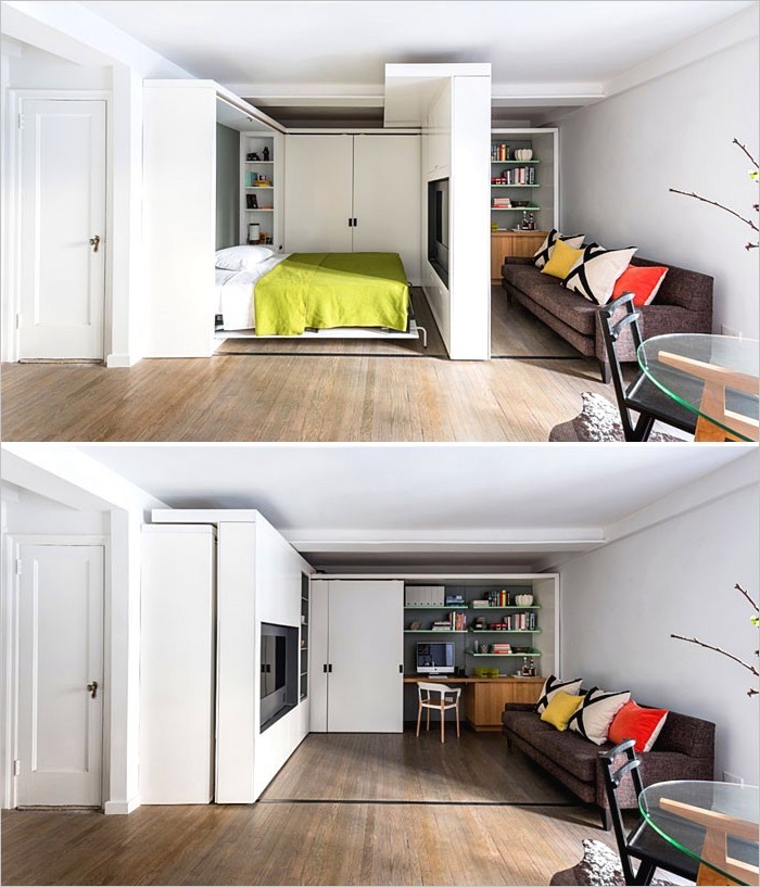 space saving furniture, wooden floor, grey sofa, small living room ideas, white walls, built in tv