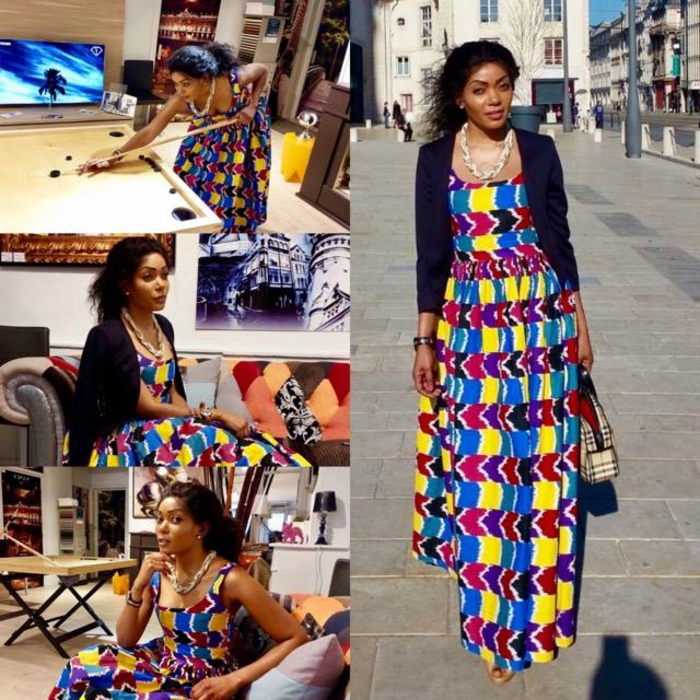 side by side photos, long dress, navy blazer, african attire for women, long black curly hair
