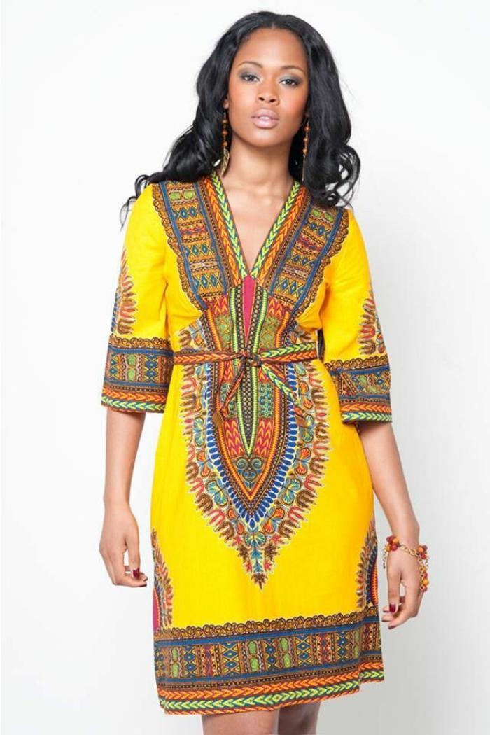 long black wavy hair, short printed hair, african attire for women, white background