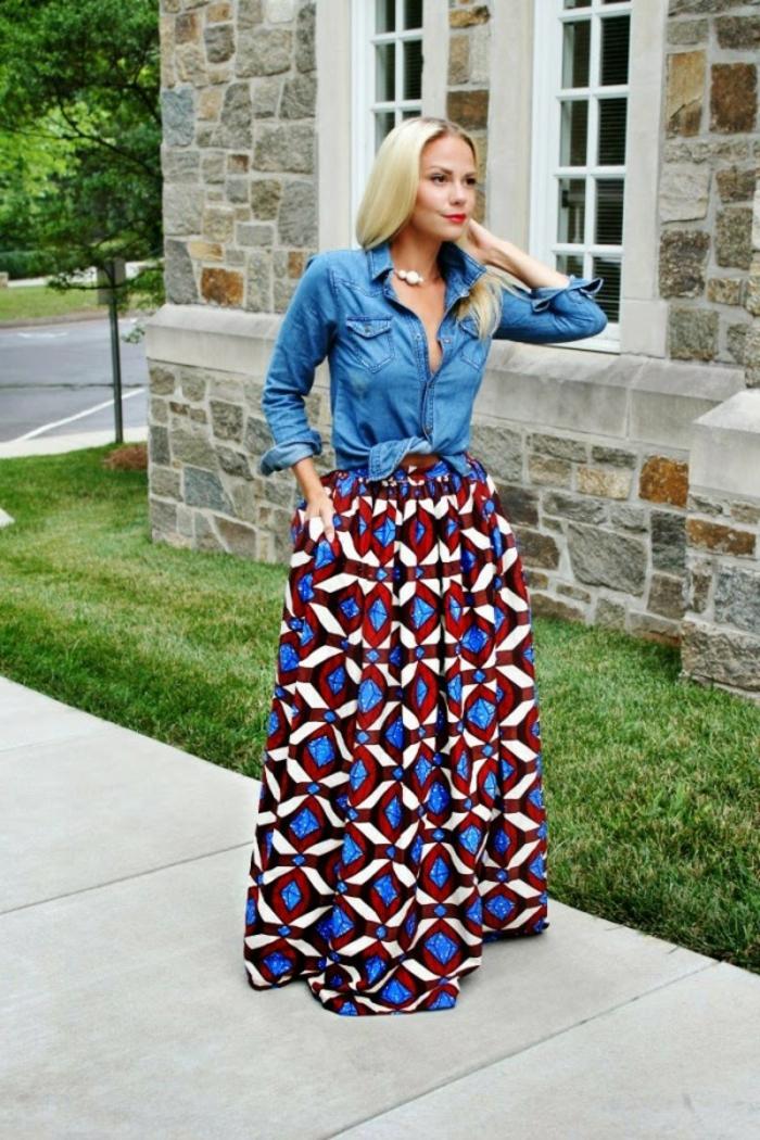 long blonde hair, denim shirt, long skirt, african attire dresses, paved sidewalk