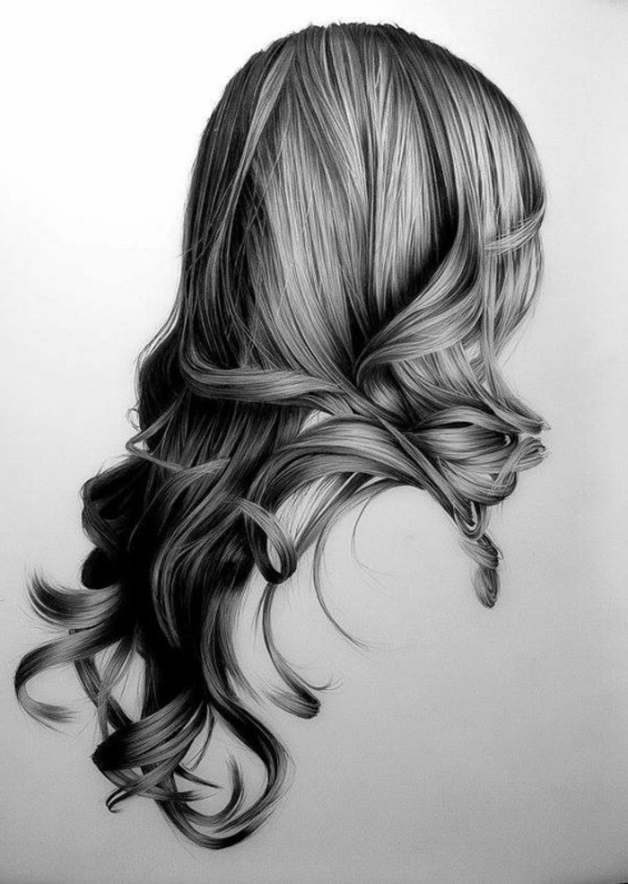 long wavy hair, white background, easy things to draw, black and white, pencil sketch