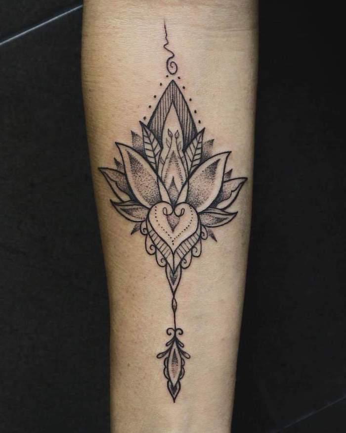 mandala tattoo sleeve, lotus flower, forearm tattoo, black background