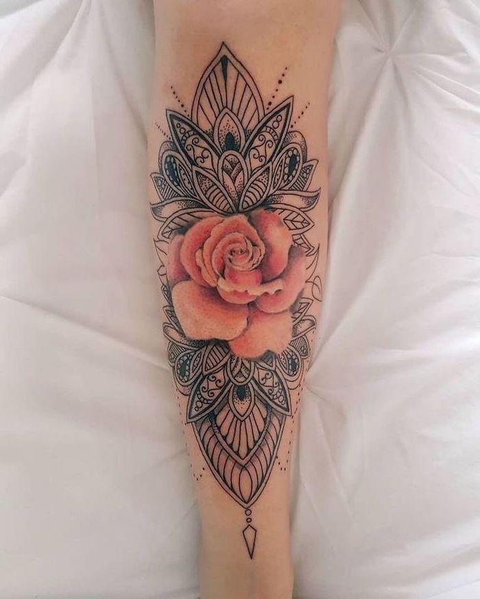 rose leg tattoo, white background, mandala tattoo sleeve