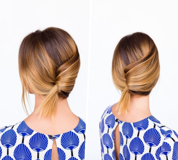 diy tutorial, brown hair, with blonde highlights, easy hairstyles for long hair, low updo, blue and white top