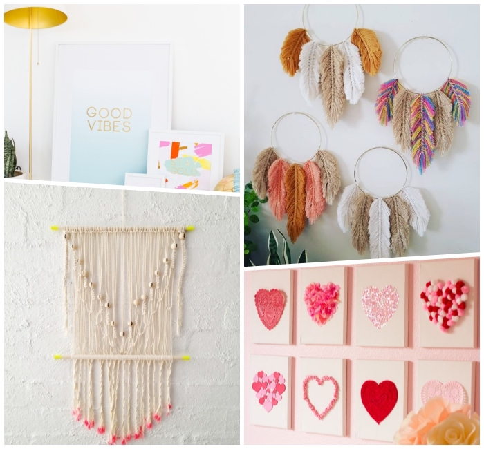 collage of photos, canvas art ideas, macrame and paper wall art, red and pink hearts, on white canvas