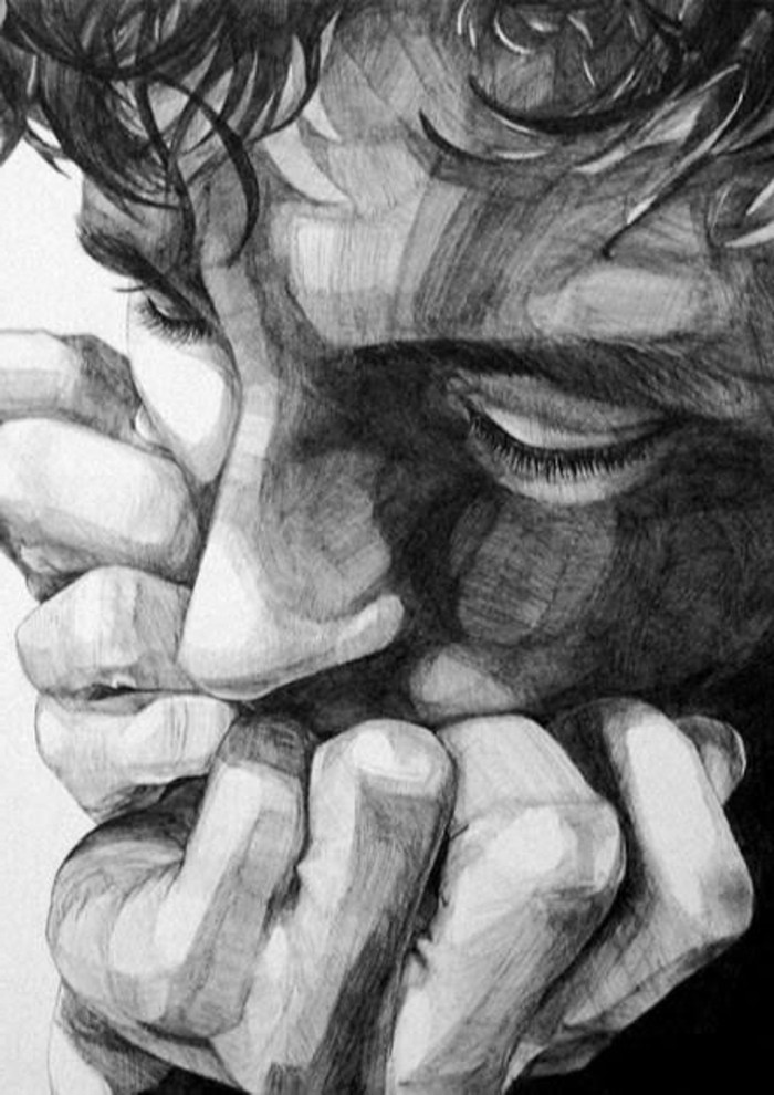man hiding his face, what should i draw, pencil sketch, in white and black