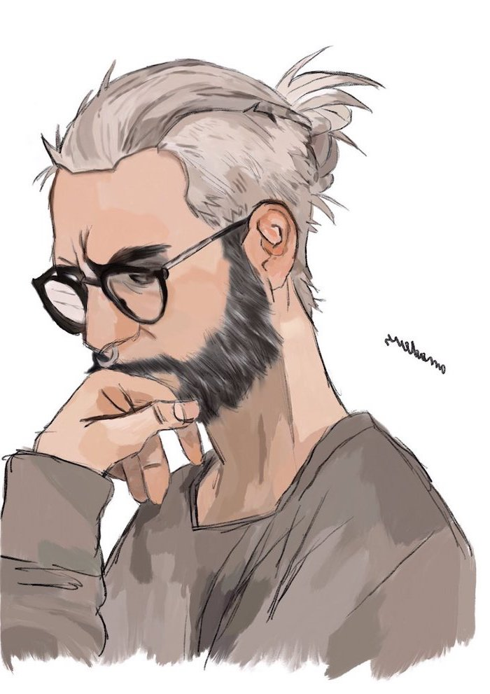 man wearing glasses, grey hair in a bun, how to draw cool stuff, grey blouse