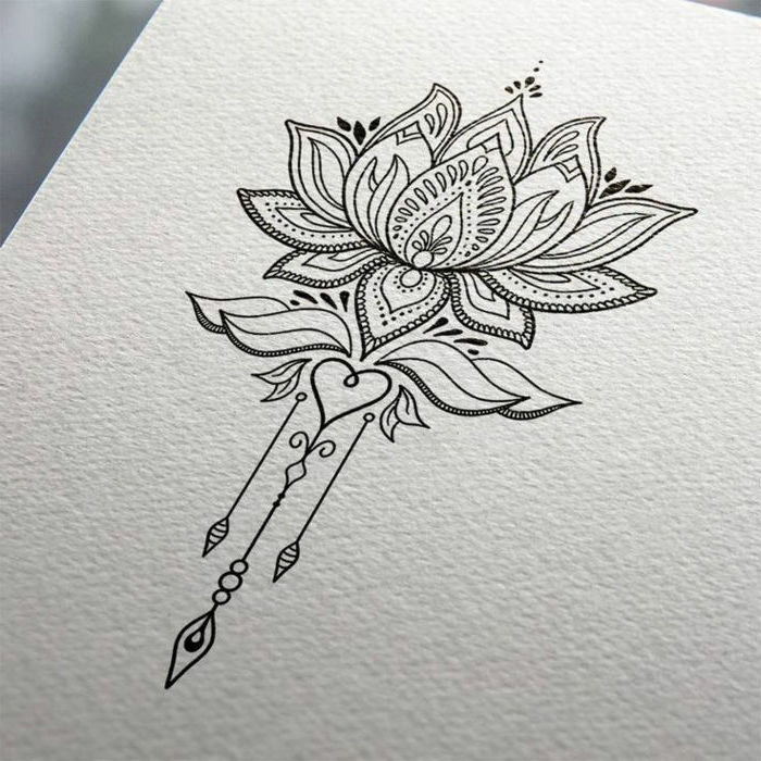 white background, lotus flower, black and white sketch, mandala tattoo sleeve
